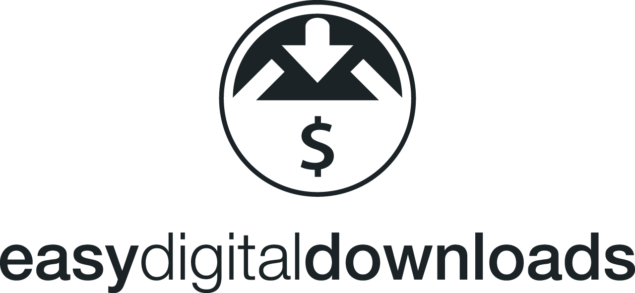Logo easy digital downloads. Plugin  WordPress do tworzenia sklepów internetowych produktów cyfrowych.